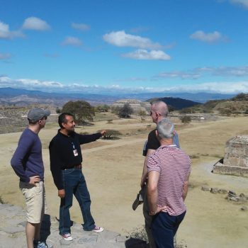 Me pointing at the observatory in Monte Albán
